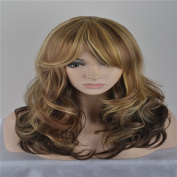 SaiDeng Women Blonde Curly Wig Ombre Wigs Heat Resistant Synthetic Wigs Lolita Halloween Party Wig Peruca Cosplay