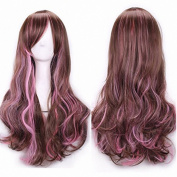 B-G 70cm High Quality Long Curly Women Girl's Charming Synthetic Wig Cosplay Party Wigs + Free Wig Cap (Brown mix Pink) WIG078