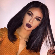 Fennell Brazilian Human Hair Kinky Straight Lace Front Wigs For Black Women Italian Yaki Bob Full Lace Wigs Bleached Knots With Baby Hair