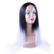 HANNE Two Tone 1B/Grey Synthetic Cosplay Wig Ombre Colour IB/Grey Long Straight Wig