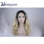 Sunny Grace®Glueless Brazilian Human Hair Lace front Wig for Black Women Wave Omber Light Blonde#613