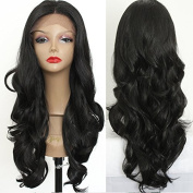 PlatinumHair #1B Natural Wavy Wigs Synthetic Lace Front Wigs Heat Resistant Synthetic Wigs 60cm - 70cm