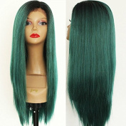 PlatinumHair Glueless Ombre Green Straight Wigs Synthetic Lace Front Wigs Heat Resistant Synthetic Wigs 46cm - 50cm