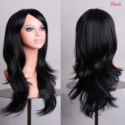Enjoydeal Fashion Heat Resistant Big Wavy Wig Long Hair Natural Synthetic Full Wigs black