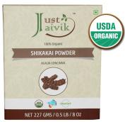 Just Jaivik 100% Organic Shikakai Powder - Certified Organic by OneCert Asia , 227 gms / 0.2kg Pound / 240ml - Acacia Concina -