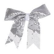 Stagedoor Sequins Hair Bow with Tails, Silver