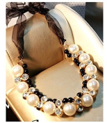 Lvxuan Double Row Hot Adjustable black Ribbon Chain Diamante Choker Pearl Necklace for women