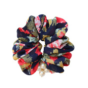 Rosehair 002-23 Large Flower Scrunchy for Ponytail Hair Accessories with Pearls