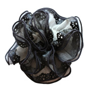Rosehair 002-15 Large Black Lace Scrunchy for Ponytail Hair Accessories
