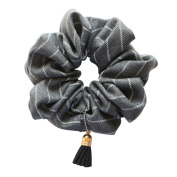 Rosehair 002-14 Large Grey Stripe Tassel Scrunchy for Ponytail Hair Styling Accessory