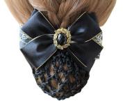 Black Elegant Lace Ribbon Bow Bowknot Rhinestone Mesh Elastic Snood Net Hairnets Hair Clip Barrette Bum Cover Hair Accessories Decor