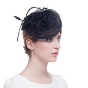 Mily Ladies Mini Flower Decor Hair Clip Party Faux Feather Meshy Detail Alligator Top Hat Hair Clip Black