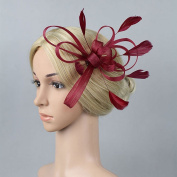 ULTNICE Women Small Fascinator Feather Flowers Hair Clip Bridal Brooch Pin