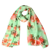 Datework Womens Rose Voile Long Stole Shawl Scarf
