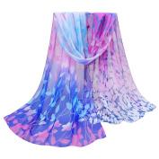 Datework Women Design Printed Silk Soft Chiffon Shawl Scarf