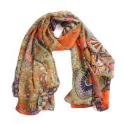 Datework Women Chiffon Printed Silk Long Soft Scarf Shawl