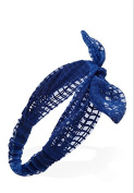 Blue Checked fabric Bow Headwrap.