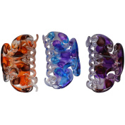 Bzybel Floral Print Plastic Hair Claw Fashion Hair Clips for Girls Women Ladies