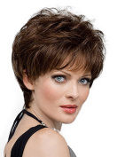 Diy-Wig Beautiful Brown Short Fluffy Full Hair Wigs for Elegant Women over 40 over 50