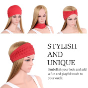 Headband for Men & Women, MoKo Versatile Solid Headband Multi-style Casual Sports Headwear Hair Wrap, Stretchy Breathable Moisture Wicking Microfiber Head Wrap for Workout, Running, Yoga & More