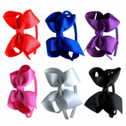 Syleia K & M Fashion Headbands with 10cm Bow, Set of 6 Blue, White, Black, Red, Purple, Rose School and Playtime Perfect Hair