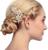 Sunshiny Wedding Bridal Flower Leaf Crystal Handmade Bridal Hair Comb Clip