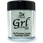 Grl Cosmetics Cosmetic Glitter Makeup for Face, Eyes, Lips, Nails and Body - GL79 Nova White, 12 Gramme Jar
