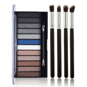 Ucanbe Glitter and Matte Eye Shadow Palette 12 Shades Pigmented Eyeshadow Kit With 4pcs Professional Eye Shadow Brush Set