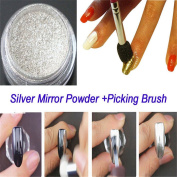 NICOLE DIARY 1Pc Nail Art Mirror Powder Silver Chrome Pigment With Powder Picker Pen Manicure DIY