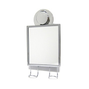 Excell Wire Hanging Mirror, with industrial twist and secure suction cups