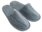 Terry Velour Closed Toe Slippers Cloth Spa Hotel Unisex Slippers Cool Grey