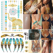 Hommii 10 Sheets Premium Metallic Tattoos Stickers - Shimmer Designs in Gold, Silver, Black & Turquoise - Temporary Fake Jewellery Tattoos - Bracelets, Feathers, Wrist & Arm Bands