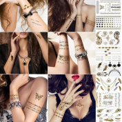 Gospire Metallic Temporary Tattoos 8 Sheet Pack Gold Silver Premium Designs Temporary Tattoos