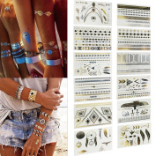 Temporary Tattoos, SQdeal 12 Sheets Gold Metallic Paper Body Art Temporary Fake Armband Tattoos for Women