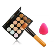 Andercala 15 Colours Eyebrow Powder Palette Cosmetics Eye Shadow Makeup Set with Brush,Brush egg