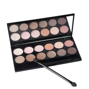 Qibest 12 Earth Colour Matte Pigment Eyeshadow Palette Cosmetic Makeup Set Nude Eye Shadow Palettes with a Double End Brush