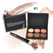 6 Colours Professional Facial Concealer Cream Foundation Makeup Camouflage Concealer Palette with Brush