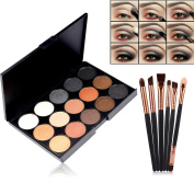 Start Makers ® 15 Colours Eye Shadow Eyeshadow Palette - Matte & Shimmer Eyeshadow - Natural Pigment Eye Contour Palette - Smokey Series Eyeshadow Pallet with 6 pcs Wooden Professional Eye Brushes