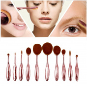 Aisa 10Pcs Oval Makeup Brush Set Professional Soft Toothbrush Eyebrow Foundation Eyeliner Powder Blush Contour Lip Brushes Cosmetic Makeup Brushes Tool