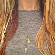 A & C Fashion Chic Alloy Leaf Shaped Necklace Jewellery for Women. Unique Gold Colour Necklace for Girl.
