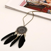 A & C Fashion Bohemia Feather Necklace for Women. Unique Gypsy Girl Feather Necklace.