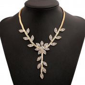 A & C Cute Chic Rhinestone Leaf Shaped Necklace for Women. Unique Gold Colour Alloy Necklace for Girl.