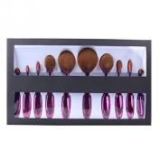 Ciamlir 2016 Professional 10 Pcs Soft Oval Toothbrush Makeup Brush Sets Foundation Brushes Cream Contour Powder Blush Concealer Brush Makeup Cosmetics Tool Set