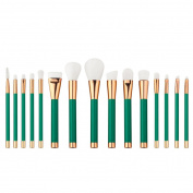 COKATE 15pcs Luxurious Makeup Brushes Pro Cosmetic Make Up Brush Set Superior Soft