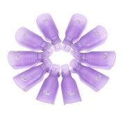 10Pcs Acrylic Nail Art UV Gel Polish Remover Wrap Cleaner Clip Caps, Purple
