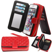 iPhone 6/6s iPhone6 Case,Aroko Premium Zipper Wallet Leather Detachable Magnetic iphone 6s Case Purse Clutch with Black Flip Credit Card For iphon 6 case