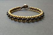 Handmade Onyx Woven Brass Bead Bracelet