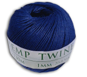 130m of 1mm 100% Hemp Twine Bead Cord in Royal Blue