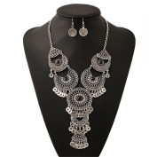 Lanue Ethnic Boho Gypsy Antique Silver Plated Bib Chunky Tassel Collar Choker Festival Coin Necklace Earring Jewellery Set