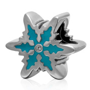 Christtmas Snowflake Charm with Blue Enamel 925 Sterling Silver Clear Crystal Winter Bead for Pandora Charms Bracelet